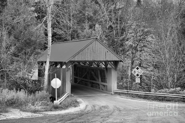Photograph - Morristown Vermont Covered Bridge Black And White by Adam Jewell