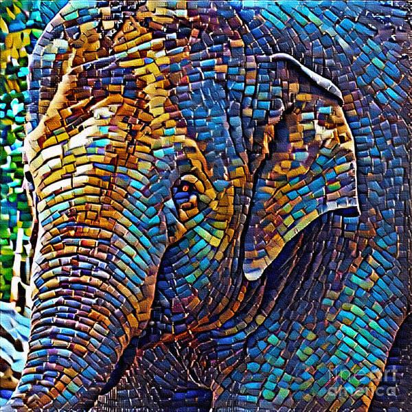 Wall Art - Photograph - Mosaic Elephant By Kaye Menner by Kaye Menner