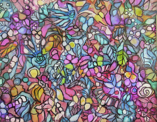 Painting - Mosaic Flowers by Jean Batzell Fitzgerald