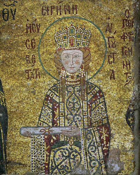 Crown Imperial Painting - Mosaic Of Empress Irene Ruled Byzantine Empire 1118-43. Haghia Sofia, Istanbul. by Album