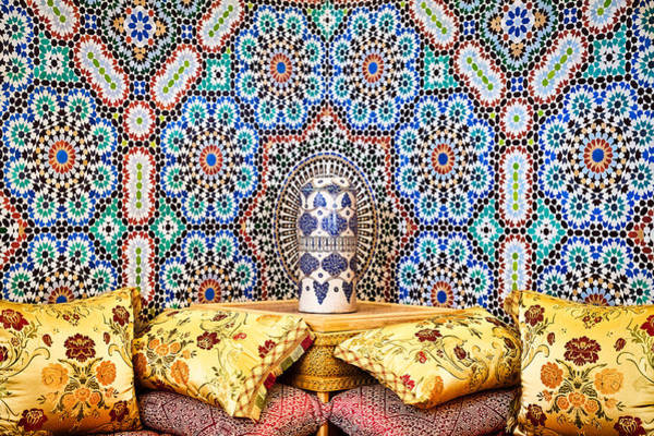 Photograph - Mosaic Tiles And Pillows - Morocco by Stuart Litoff
