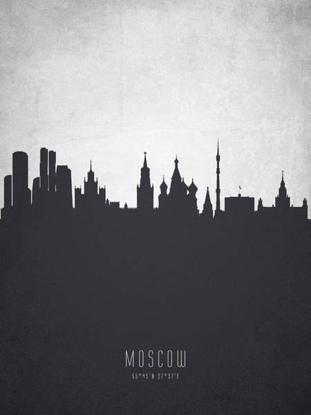 Wall Art - Digital Art - Moscow City Skyline Rusmw19 by Aged Pixel