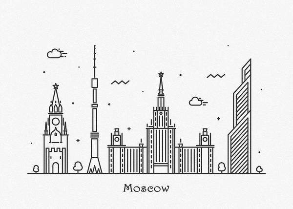 Wall Art - Drawing - Moscow Cityscape Travel Poster by Inspirowl Design