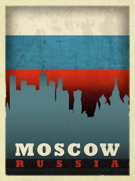 Wall Art - Mixed Media - Moscow Russia City Skyline Flag by Design Turnpike
