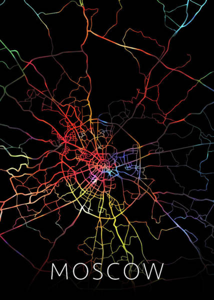 Moscow Mixed Media - Moscow Russia Watercolor City Street Map Dark Mode by Design Turnpike
