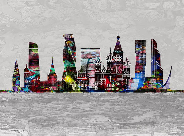 Moscow Mixed Media - Moscow, Skyline, Artist Singh by Artist Singh MAPS