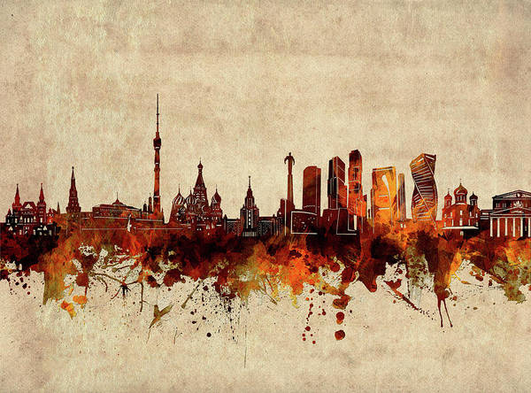 Wall Art - Digital Art - Moscow Skyline Sepia by Bekim M