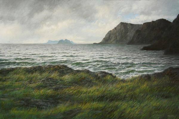 Wall Art - Painting - Mosken Island Outside Lofoten by Hans Egil Saele