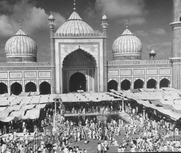 Wall Art - Photograph - Moslems Worshippers Gathering In Courtya by Margaret Bourke-white