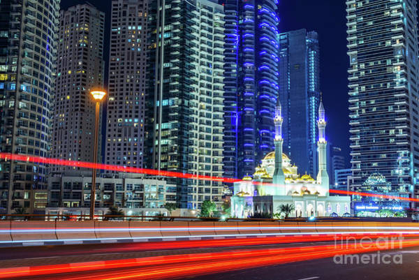 Wall Art - Photograph - Mosque In Dubai At Night by Delphimages Photo Creations