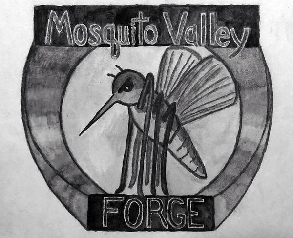 Wall Art - Drawing - Mosquito Valley Forge Logo Black And White by Michael Panno