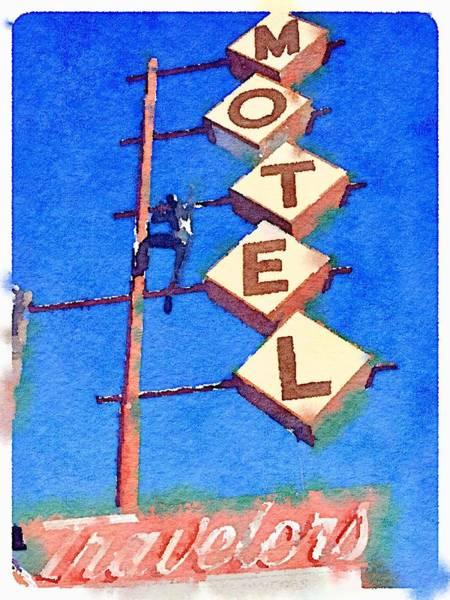 Wall Art - Photograph - Motel Las Vegas Watercolor by Stan Kosinski