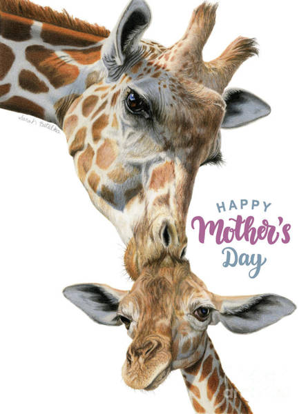 Wall Art - Painting - Mother And Baby Giraffe- Happy Mother's Day by Sarah Batalka