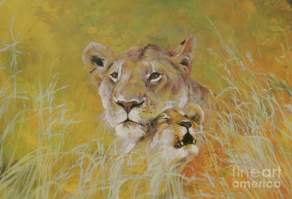 Wall Art - Painting - Mother And Baby I Lions by Odile Kidd