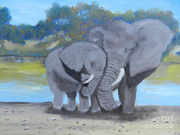 Wall Art - Painting - Mother And Calf by Pamela Meredith
