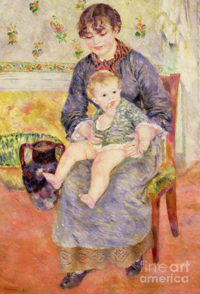Wall Art - Painting - Mother And Child, 1881  by Pierre Auguste Renoir