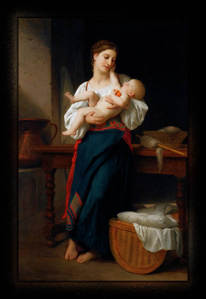 Painting - Mother And Child By William Adolphe Bouguereau by Xzendor7