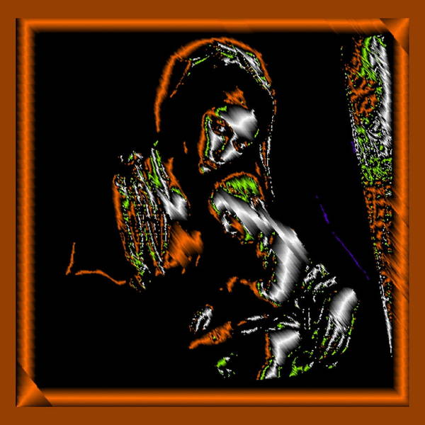 Digital Art - Mother And Child Orange by Mary Russell
