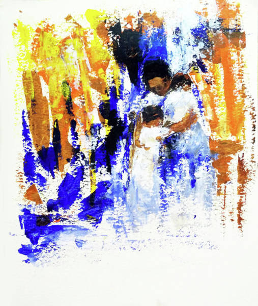 Wall Art - Painting - Mother And Children by Asha Sudhaker Shenoy