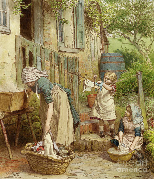 Wall Art - Painting - Mother And Children Hanging Out The Washing by Robert Barnes