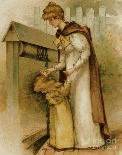 Wall Art - Painting - Mother And Daughter At The Well  by Maude Goodman