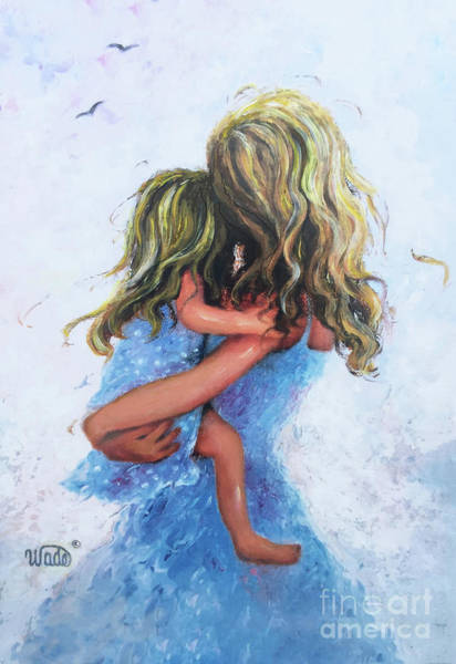 Wall Art - Painting - Mother And Daughter Hugs Blondes by Vickie Wade