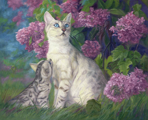 Kitten Wall Art - Painting - Mother And Daughter by Lucie Bilodeau