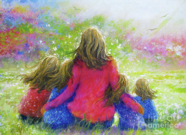 Wall Art - Painting - Mother And Four Daughter Blondes by Vickie Wade