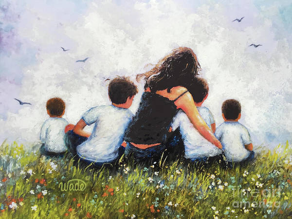 Wall Art - Painting - Mother And Four Sons Hugging by Vickie Wade