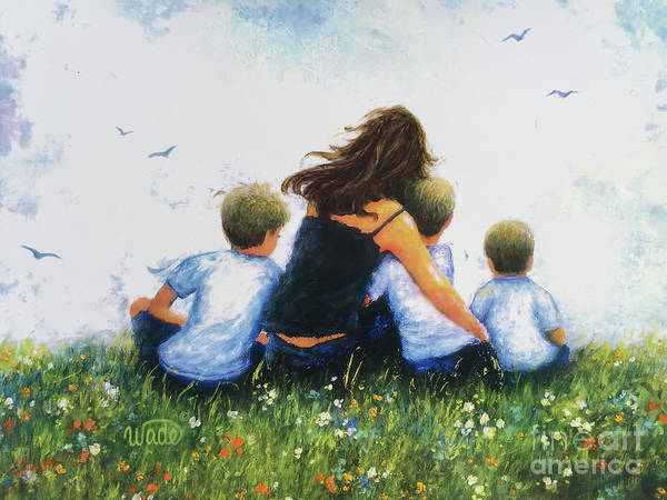 My Son Painting - Mother And Three Sons Hugging Blonde Boys by Vickie Wade