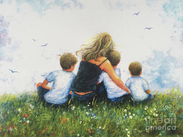 Wall Art - Painting - Mother And Three Sons Hugging Blondes by Vickie Wade