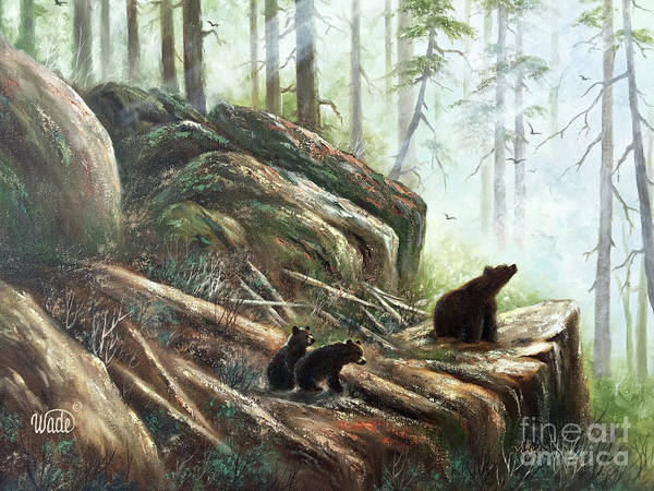 Wall Art - Painting - Mother Bear And Cubs by Vickie Wade