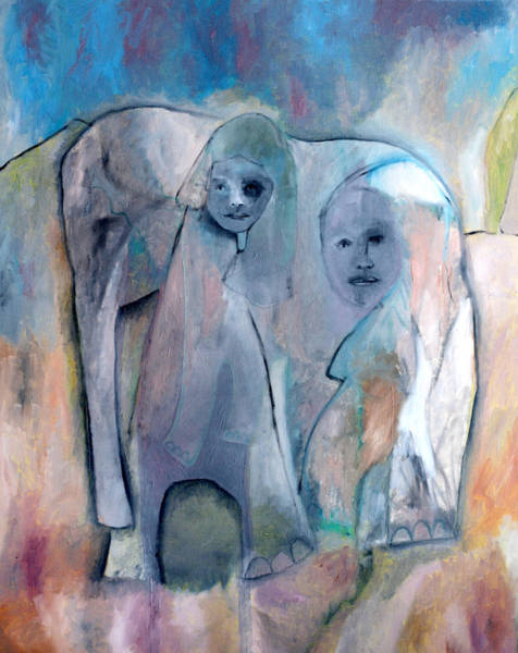 Painting - Mother Elephant by Artist Dot