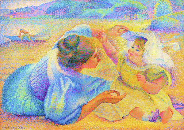 Wall Art - Painting - Mother Playing With Her Child - Digital Remastered Edition by Henri Edmond Cross