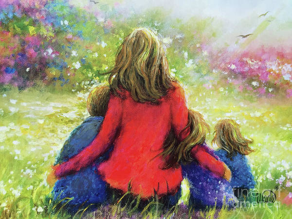 Wall Art - Painting - Mother Son Two Daughters Garden Blondes by Vickie Wade