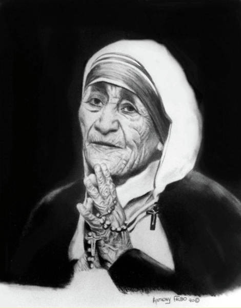 Mother Of God Wall Art - Drawing - Mother Teresa by Anthony Falbo