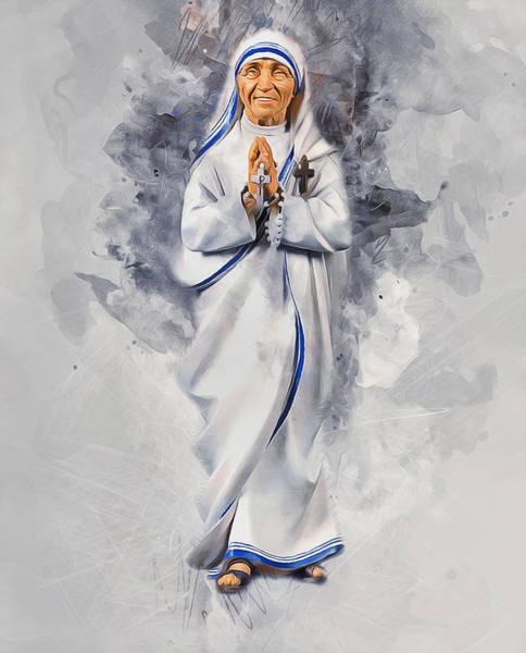 Macedonia Digital Art - Mother Theresa by Ian Mitchell
