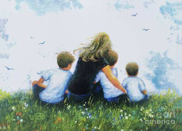 Wall Art - Painting - Mother Three Sons Hugging Blondes by Vickie Wade