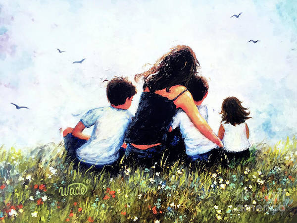 Wall Art - Painting - Mother Two Sons And Little Daughter Hugging by Vickie Wade