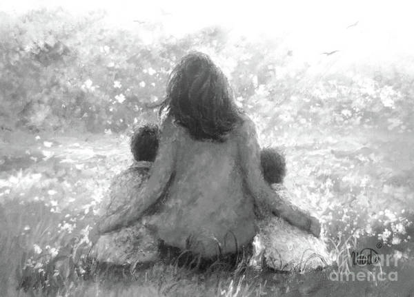 Wall Art - Painting - Mother Two Sons In Garden Black White by Vickie Wade