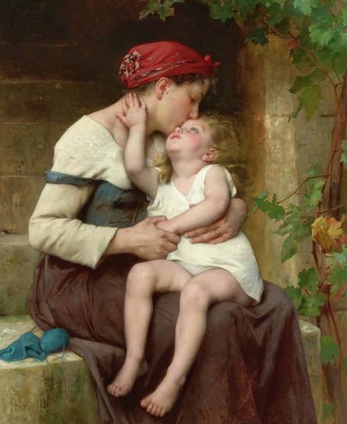Wall Art - Painting - Mother With Child, 19th Century by Leon Perrault