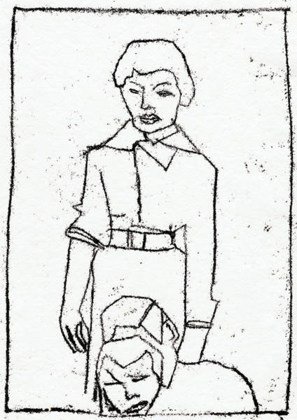Drawing - Mother With Children by Artist Dot