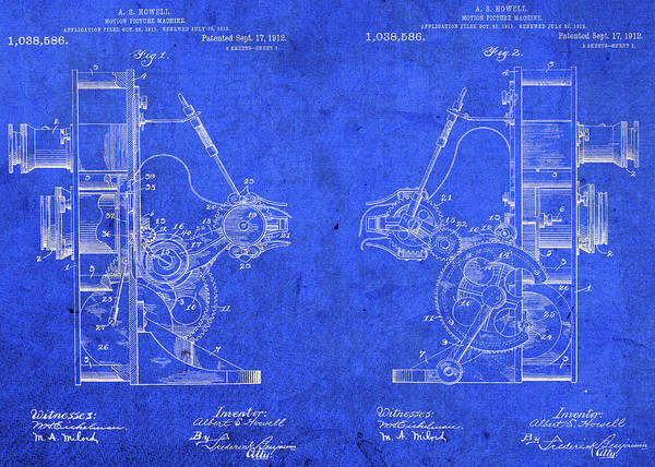 Wall Art - Mixed Media - Motion Picture Movie Camera Vintage Patent Blueprint by Design Turnpike