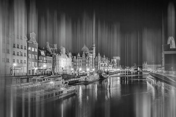 Wall Art - Photograph - Motlawa River Gdansk By Night Black And White by Carol Japp