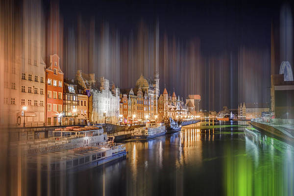 Wall Art - Photograph - Motlawa River Gdansk Waterfront By Night  by Carol Japp
