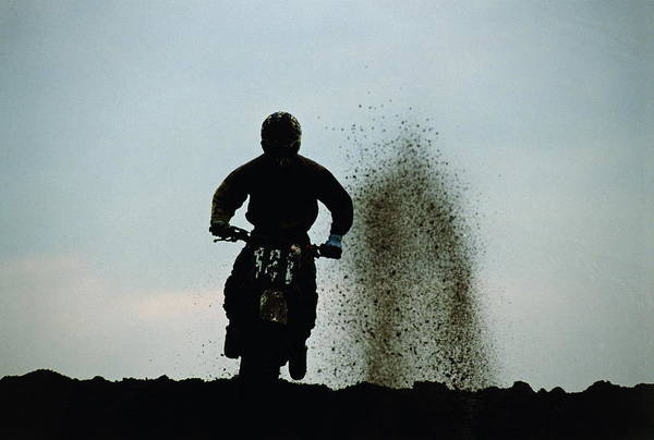 Motorcycle Racing Photograph - Motocross, Competitor Silhouetted by Dave Rogers