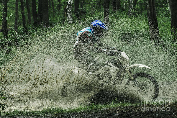 Wall Art - Photograph - Motocross Driver Under The Spray Of Mud by Sportpoint