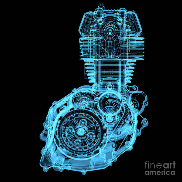 Wall Art - Digital Art - Motocycle Engine 3d X-ray Blue by X-ray Pictures
