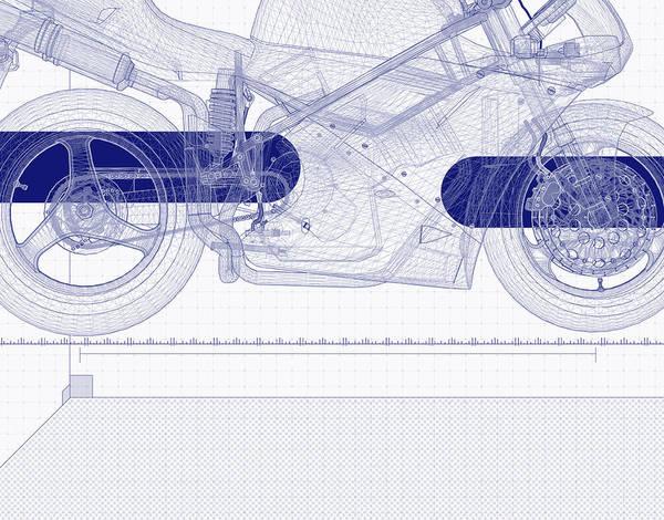 Color Image Digital Art - Motor Bike Blueprint by Chad Baker