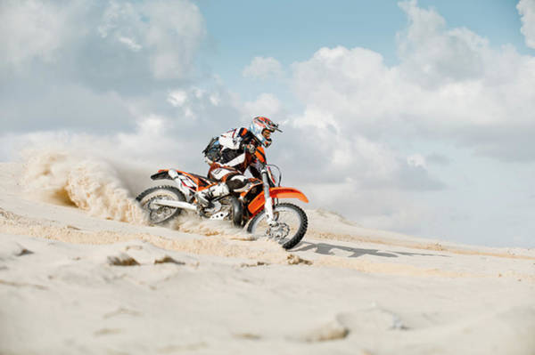 Motocross Photograph - Motor Cross Riding Over Sand by Charlie Yacoub